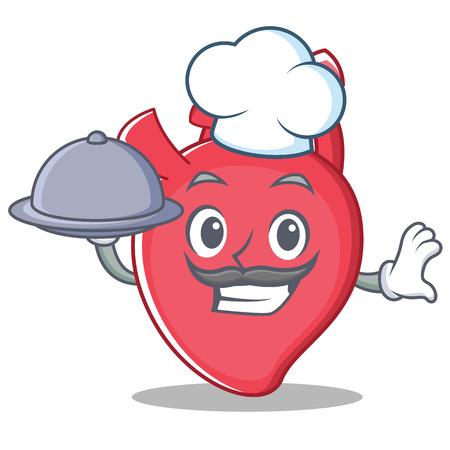 Chef heart character cartoon style vector illustration