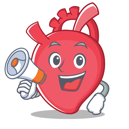 With megaphone heart character cartoon style vector illustration Stock Photo