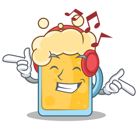 Listening music beer character cartoon style