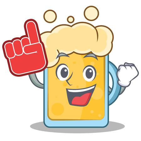 Foam finger beer character cartoon style Illustration