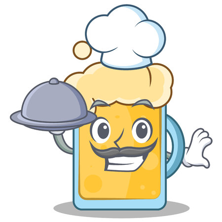 Chef beer character cartoon style