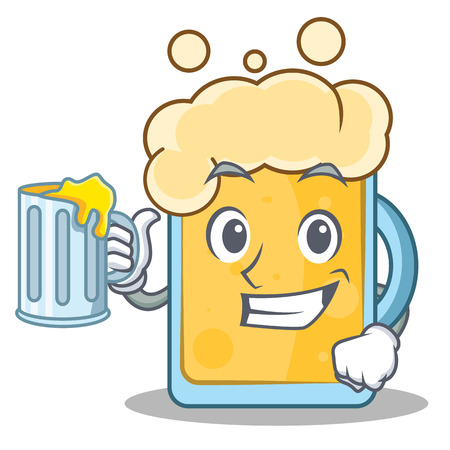 With juice beer character cartoon style Illustration