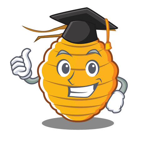 Graduation bee hive character cartoon vector illustration Illustration