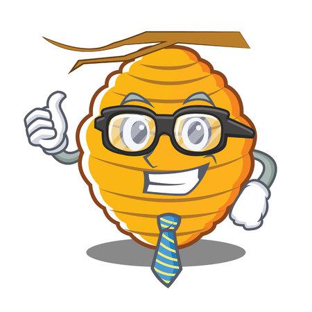 Businessman bee hive character cartoon vector illustration Illustration