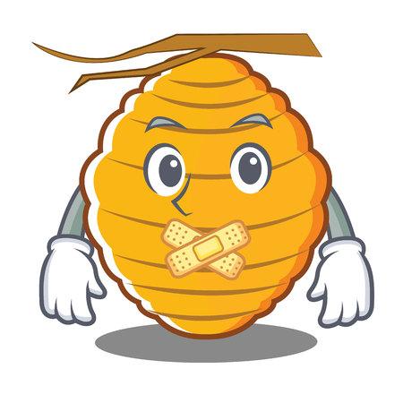 Silent bee hive character cartoon vector illustration