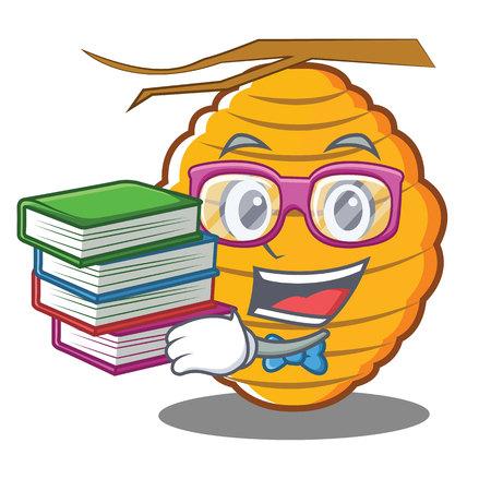 Geek bee hive character cartoon vector illustration