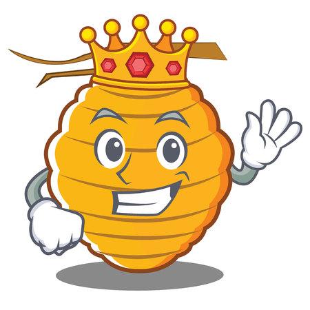 King bee hive character cartoon vector illustration