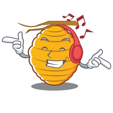 Listening music bee hive character cartoon vector illustration