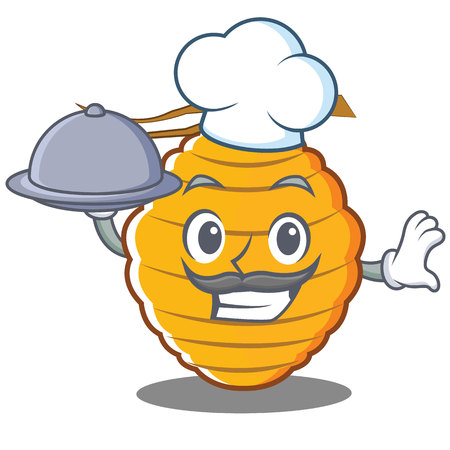 Chef bee hive character cartoon vector illustration