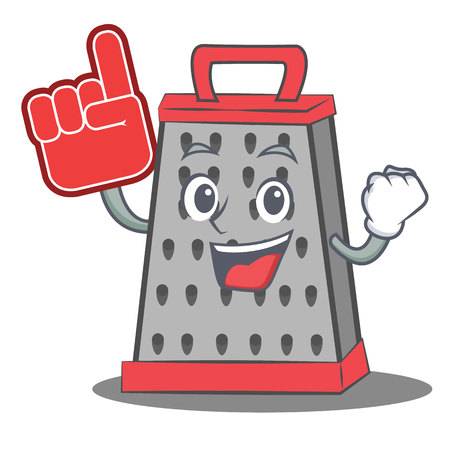 Foam finger kitchen grater character cartoon Illustration