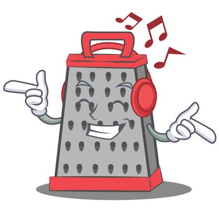 Listening music kitchen grater character cartoon