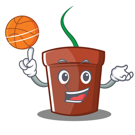 With basketball flower pot character cartoon vector illustration