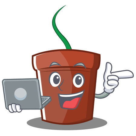With laptop flower pot character cartoon vector illustration