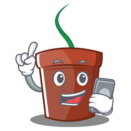 With phone flower pot character cartoon vector illustration