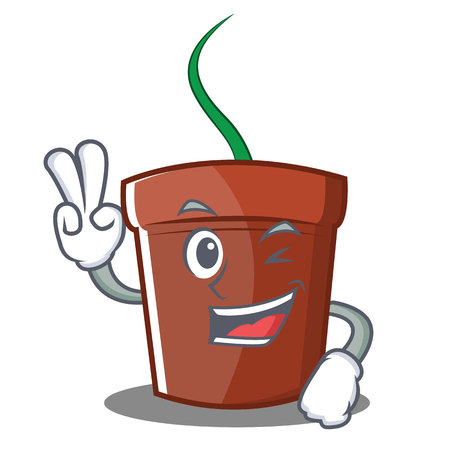 Two finger flower pot character cartoon vector illustration 向量圖像