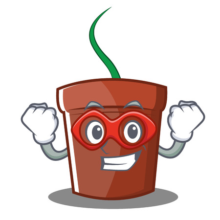 Super hero flower pot character cartoon