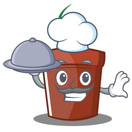 Chef flower pot character cartoon vector illustration