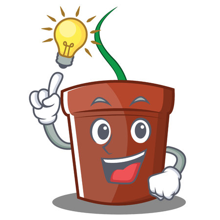 Have an idea flower pot character cartoon vector illustration