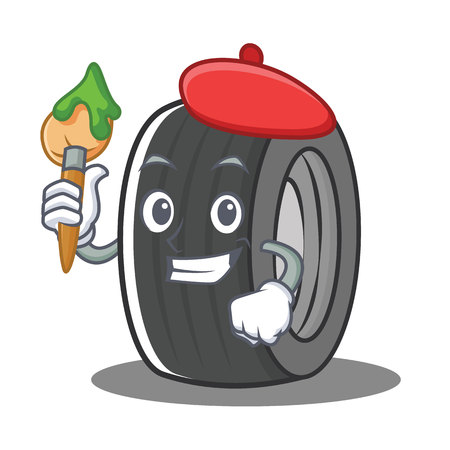 Artist tire character cartoon style