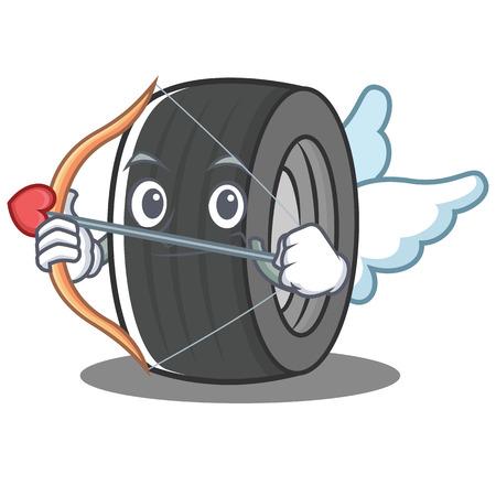 Cupid tire character cartoon style vector illustration Illustration