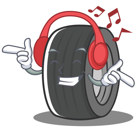 Listening music tire character cartoon style vector illustration