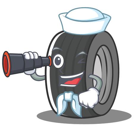 Sailor tire character cartoon style vector illustration Illustration