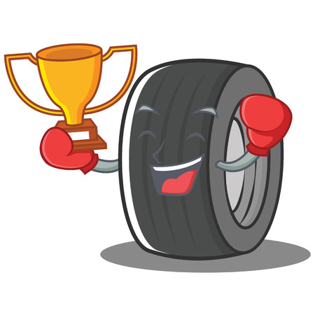 Boxing tire character cartoon style Illustration