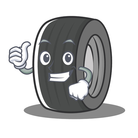 Thumbs up tire character cartoon style