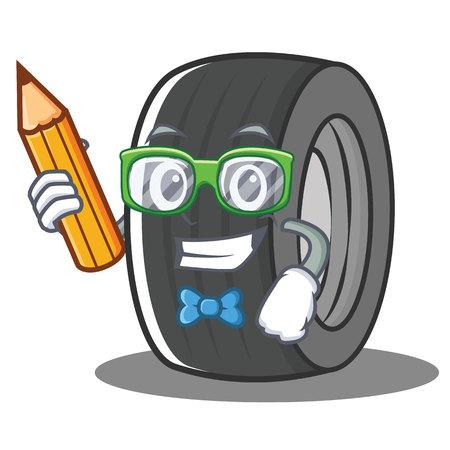 Student tire character cartoon style Illustration
