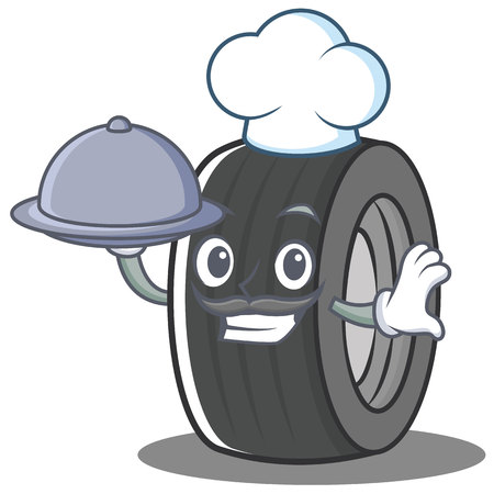 Chef tire character cartoon style