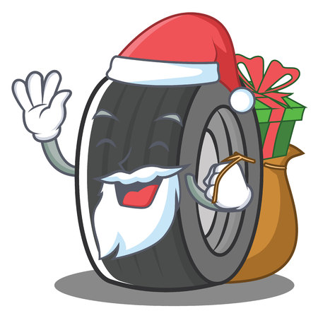 Santa tire character cartoon style Stock Photo