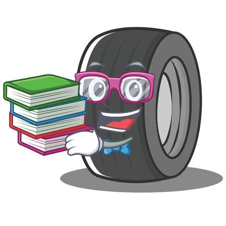 Geek tire character cartoon style