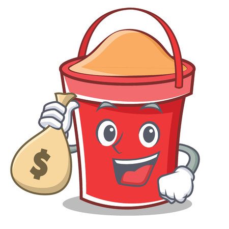 With money bag bucket character cartoon style vector illustration.