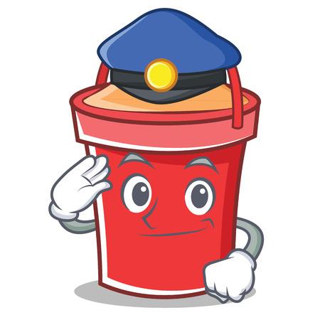 Police bucket character cartoon style vector illustration.