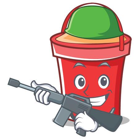 army face: Army bucket character cartoon style vector illustration