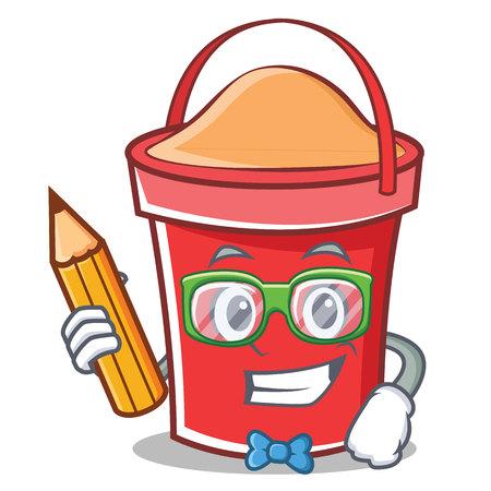 Student bucket character cartoon style vector illustration