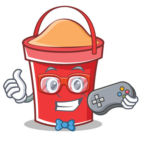Gamer bucket character cartoon style