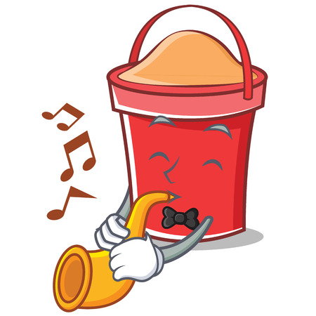 With trumpet bucket character cartoon style vector illustration