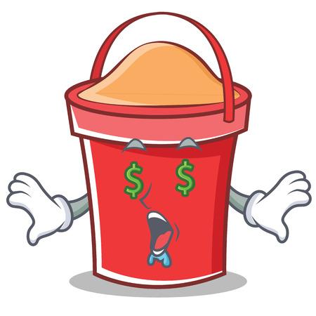 Money eye bucket character cartoon style vector illustration Illustration