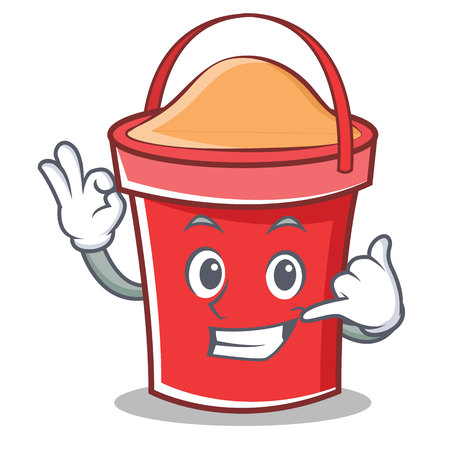 Call me bucket character cartoon style vector illustration Illustration