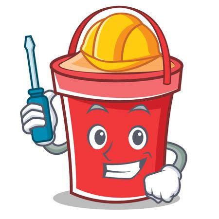 Automotive bucket character cartoon style vector illustration.
