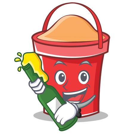 With beer bucket character cartoon style vector illustration Illustration