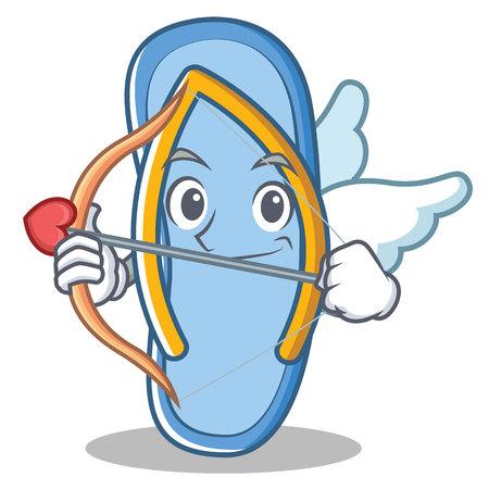 Cupid flip flops character cartoon vector illustration Illustration