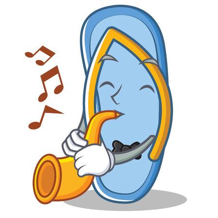With trumpet flip flops character cartoon