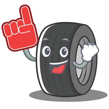 Foam finger tire character cartoon style vector illustration