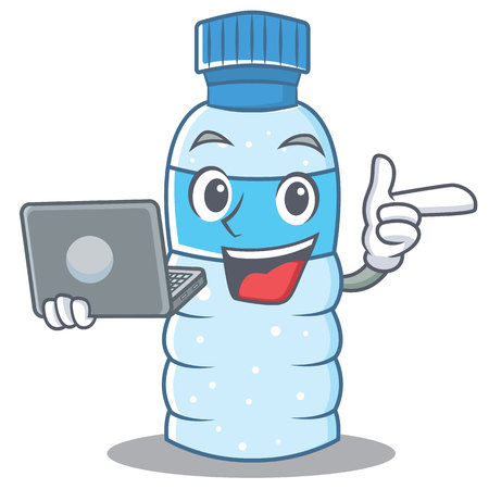 With laptop bottle character cartoon style vector illustration