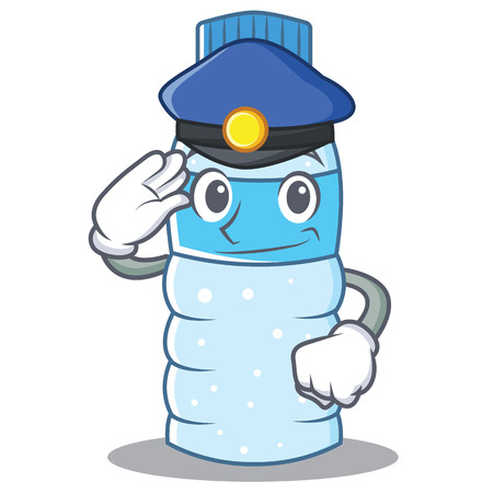 Police bottle character cartoon style