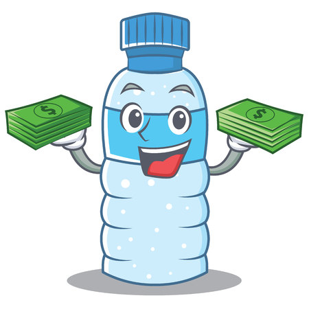 With money bottle character cartoon style