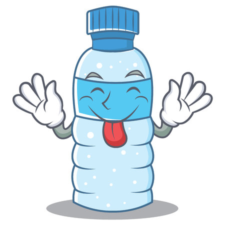 Tongue out bottle character cartoon style vector illustration.