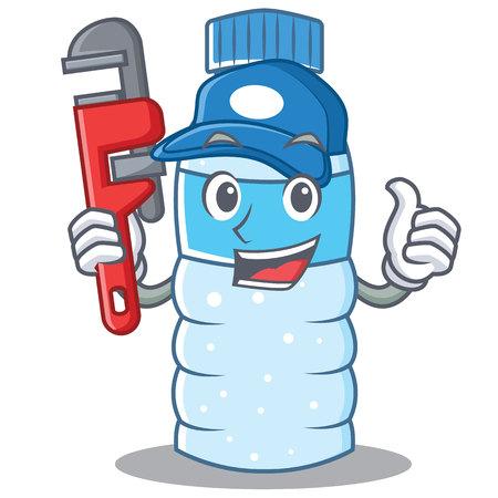 eye close up: Plumber bottle character cartoon style vector illustration. Illustration
